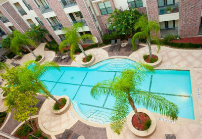 Aerial view of the pool area at Villas at Bunker Hill