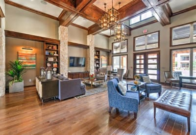 Interior of the lavish clubhouse at Hilltops in Conroe, Texas