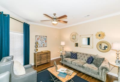 Model home living room at Hilltops in Conroe, Texas