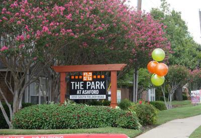 The Park at Ashford entry sign in Arlington, Texas