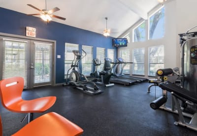 Ridgeview Place offers a fitness center in Irving, Texas