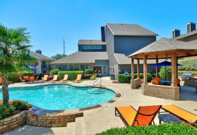 Enjoy a refreshing pool at Ridgeview Place in Irving, Texas