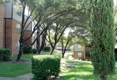 Well maintained landscaping with shaded walking paths at Trails of Towne Lake in Irving, Texas