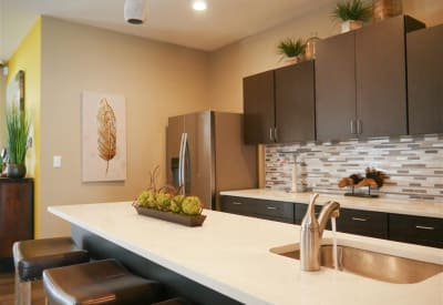 Trails of Towne Lake offers a modern kitchen in Irving, Texas