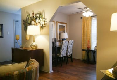 Open living room and dining area at Trails of Towne Lake in Irving, Texas