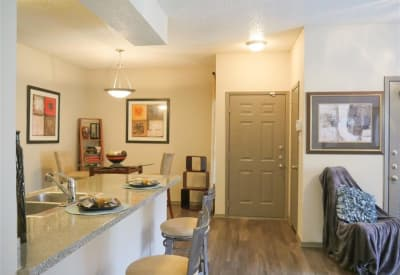 Breakfast bar and dining area at Veridian Place in Dallas, Texas