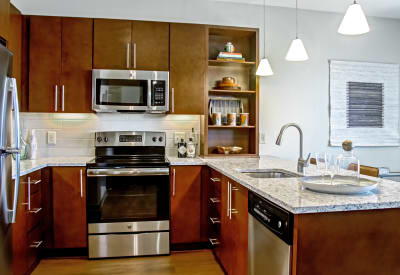 Luxury kitchen with stainless-steel appliances at Station 40 in Nashville, Tennessee