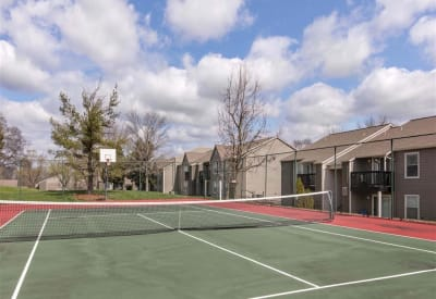 Resident tennis ball court at The Hamilton in Hendersonville, Tennessee