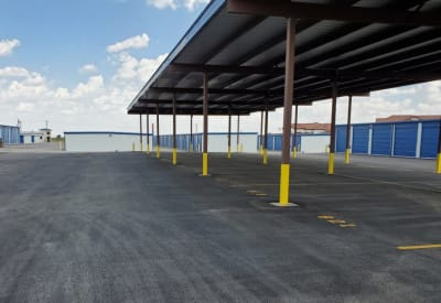 Covered RV and boat storage area at Advantage 52nd Odessa in Odessa, Texas