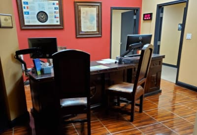 Manager's desk in the leasing office at Advantage 52nd Odessa in Odessa, Texas