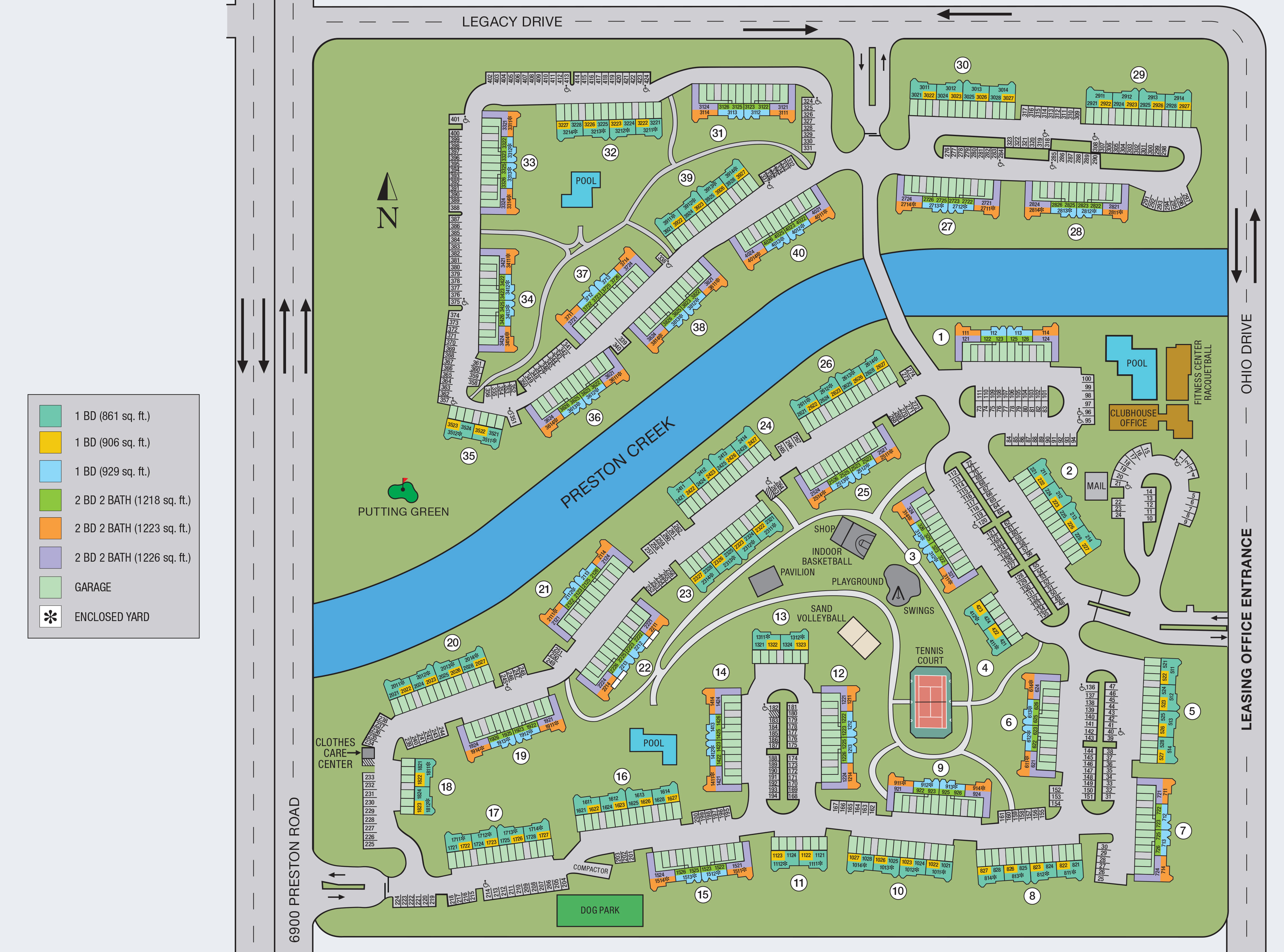Site map of Villas of Preston Creek in Plano, TX