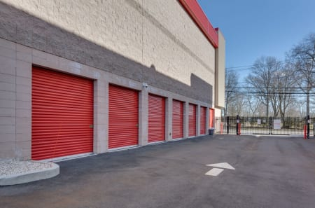 Closer view of drive-up storage units at StorQuest Self Storage