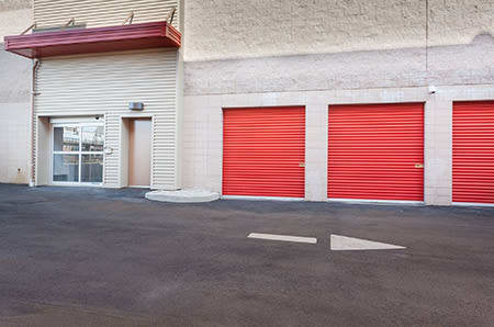 Outdoor storage units at StorQuest Self Storage in Paramount, California