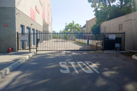 Gated entrance at StorQuest Self Storage in North Miami Beach, FL