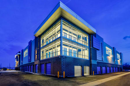 Exterior view at twilight at StorQuest Self Storage in Arvada, CO
