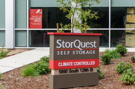 Signage at StorQuest Self Storage in Seattle, WA