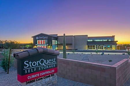 Exterior twilight at StorQuest Self Storage in Carefree, AZ