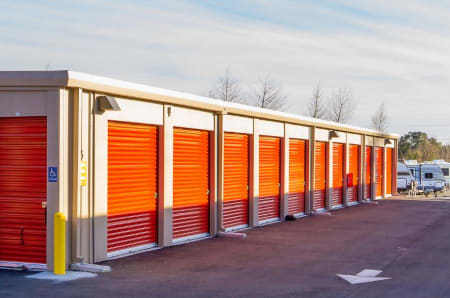 Outdoor storage units at StorQuest Self Storage in Redwood City, California