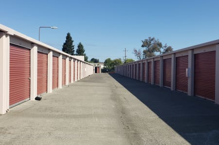 Exterior of large outdoor storage units at StorQuest Self Storage in Napa, California