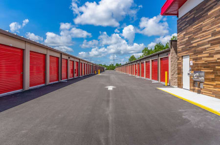 Outdoor drive up storage units at StorQuest Express - Self Service Storage in Palm Coast, Florida
