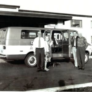 Our Grandfather, Emmett Koelsch, seen chauffeuring residents of Delaware Plaza in 1971