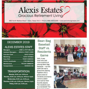 December newsletter at Alexis Estates Gracious Retirement Living in Allen, Texas