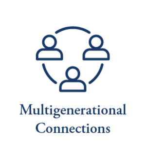 The multi-generational connection icon at Meridian Senior Living