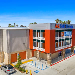 Parking lot and exterior of a A-1 Self Storage facility