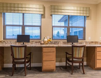 fully equipped computer center at Pacifica Senior Living Vancouver in Vancouver, WA
