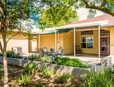 Patio at our senior living facility in Modesto, California