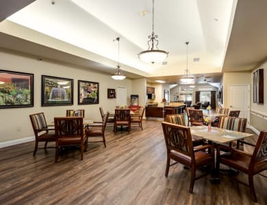 Dining area at Pacifica Senior Living Modesto in Modesto, California