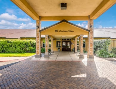 Welcome sign at Pacifica Senior Living Modesto in Modesto, California