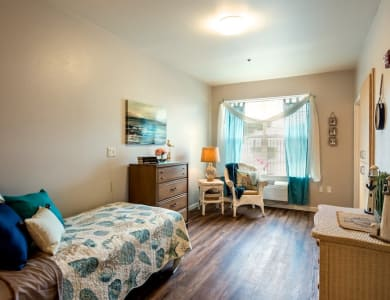 Bedroom at Pacifica Senior Living Modesto in Modesto, California
