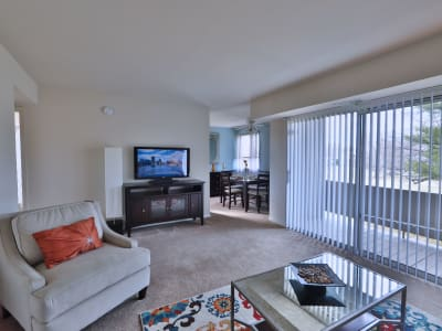 Naturally well-lit living room at Charlesmont Apartment Homes in Dundalk, Maryland