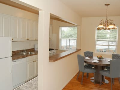 Spacious kitchen with modern conveniences at Village Green Apartment Homes
