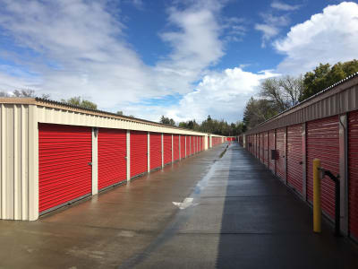 Driveway of outdoor storage units at Redtop Storage in Chico