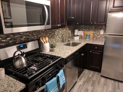 Modern kitchen at apartments in Philadelphia, Pennsylvania