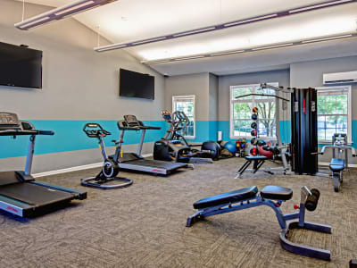 Gym at The Flats @ 55 Twelve in Durham, North Carolina