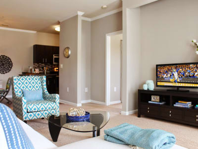 Enjoy a cozy living room at The Flats @ 55 Twelve in Durham, North Carolina
