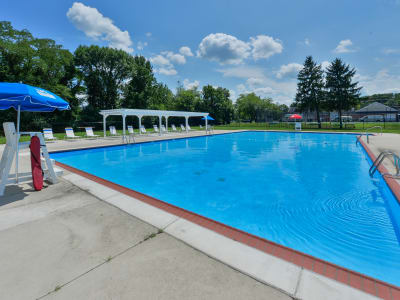 Spacious swimming pool at apartments in Maple Shade, New Jersey