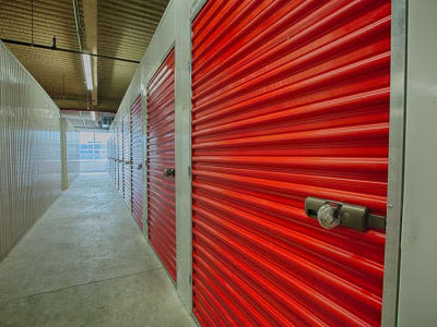 Hallway of storage units at Clutter Self-Storage in Long Island City, New York