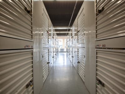 Hallway of storage units at Clutter Self-Storage in Yonkers, New York