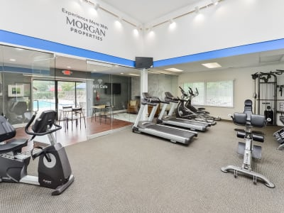 Modern fitness center at apartments in East Brunswick, New Jersey