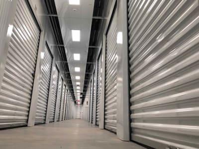Line of storage units at Monster Self Storage in Savannah, Georgia