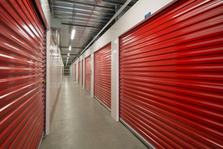 Red garage doors at Trojan Storage in Salem, Oregon