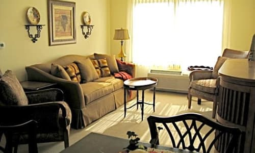 Model living room at The Birches at Harleysville in Harleysville, Pennsylvania