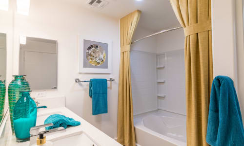 Bright bathroom at EVO Apartments in Las Vegas, Nevada