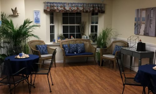 Community living room at Traditions of Cross Keys in Glassboro, New Jersey