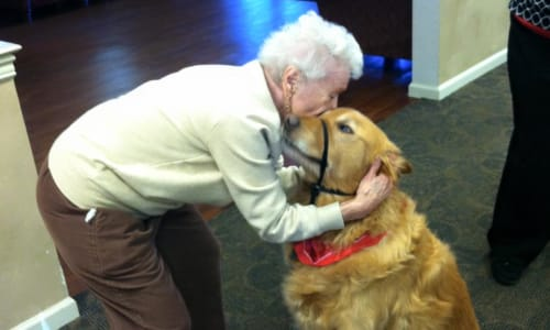 Resident hugging a dog at Traditions of Cross Keys in Glassboro, New Jersey