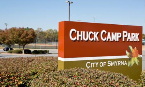 Sign at Chuck Camp Park near Centerview Park in Smyrna, Georgia